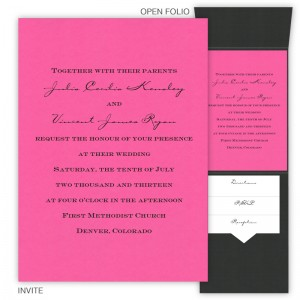 Vertical Folio Pocket Invitations Sample