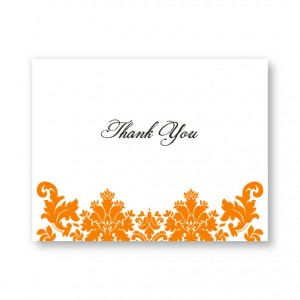 Engagingly Damask Letterpress Thank You Cards