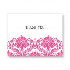 Dramatic Damask Letterpress Thank You Cards