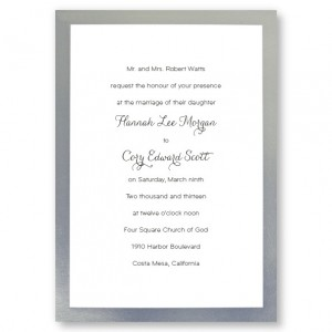 Silver Border Wedding Invitations