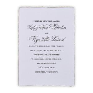 Feather Deckle Wedding Invitations