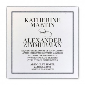 Glitz and Glam Square Wedding Invitations White/Black