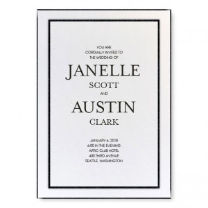 Glitz and Glam Wedding Invitations - White/Black