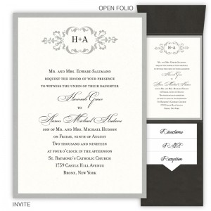 Cecilia Folio Pocket Wedding Invitations SAMPLE