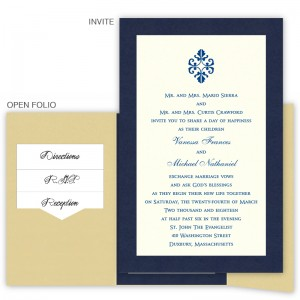 6 x 9 Gate Folio Pocket Wedding Invitations  - 2 Layers Large Border