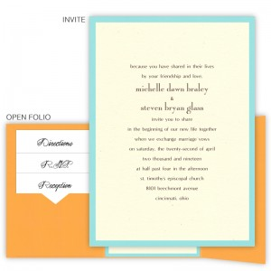 5 x 7 Gate Folio Pocket Wedding Invitations  - 2 Layers Small Border