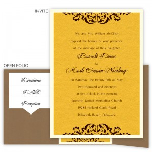 Sabrina Folio Pocket Thermography Wedding Invitations