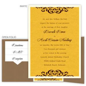 Sabrina Folio Pocket Thermography Wedding Invitations
