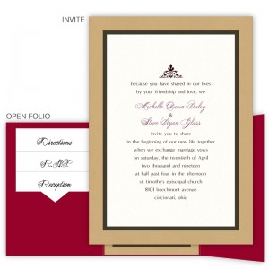 5 x 7 Gate Folio Pocket Wedding Invitations  - 3 Layers