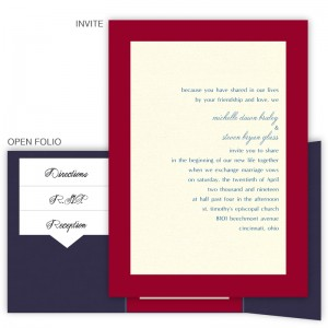 5 x 7 Gate Folio Pocket Wedding Invitations  - 2 Layers Large Border