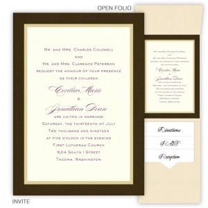 5 x 7 Vertical Folio Wedding Invitations  - 3 Layers