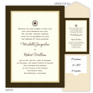 5 x 7 V-Flap Folio Pocket Wedding Invitations  - 3 Layers