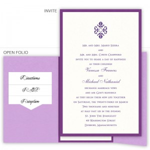 6 x 9 Gate Folio Pocket Wedding Invitations  - 2 Layers Small Border