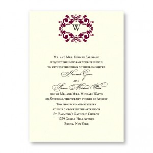 Angelina Wedding Invitations SAMPLE