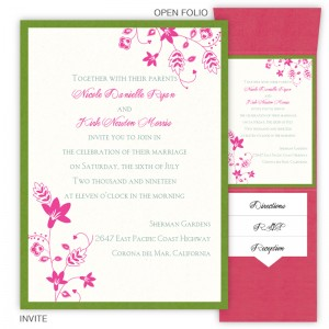 Fiona Folio Pocket Floral Wedding Invitations