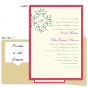 Roxanne Folio Pocket Monogram Wedding Invitations