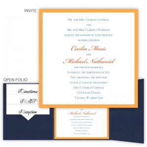 5 x 5 Gate Folio Pocket Wedding Invitation  - 2 Layers