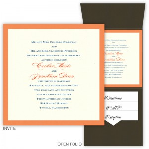6 x 6 Vertical Folio Pocket Wedding Invitations - 2 Layers Small Border