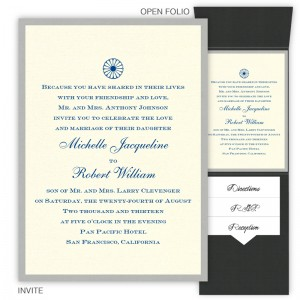 5 x 7 Vertical Folio Wedding Invitations  - 2 Layers Small Border