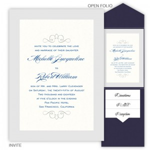 5 x 7 V-Flap Folio Pocket Wedding Invitations  - 2 Layers Large Border