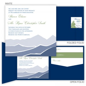 Mountain Square Folio Pocket Wedding Invitations