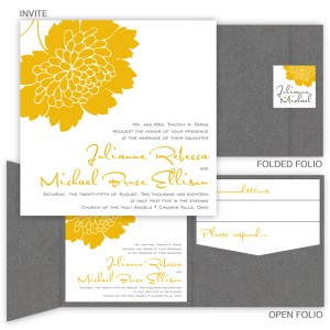 Bliss Square Folio Pocket Wedding Invitations
