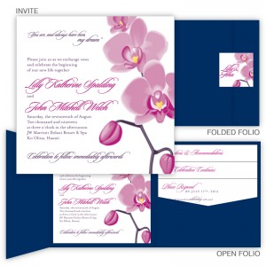Tropical Orchid Square Folio Pocket Wedding Invitations