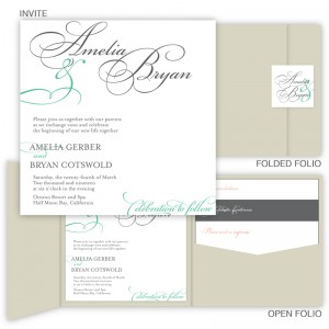 Bella Square Folio Pocket Wedding Invitations