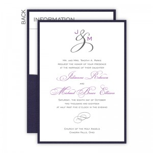 Monogram Clutch Pocket Wedding Invitations