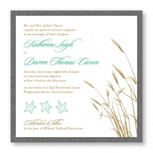 Classic Coastal 2-Layer Square Wedding Invitations