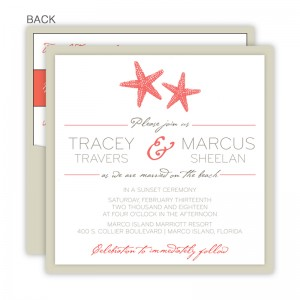 Starfish Square Clutch Wedding Invitations