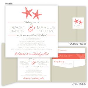 Starfish Square Folio Pocket Wedding Invitations