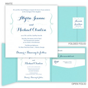 Embrace Square Folio Pocket Wedding Invitations SAMPLE