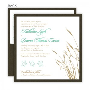 Classic Coastal Square Clutch Wedding Invitations
