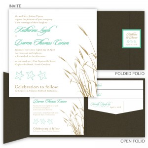Classic Coastal Square Folio Pocket Wedding Invitations