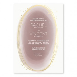 Layered Watercolor Foil Wedding Invitations - Mauve