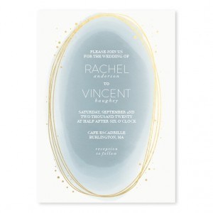 Layered Watercolor Foil Wedding Invitations SAMPLE