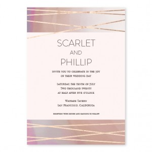 Crossed Paths Foil Wedding Invitations - Pink