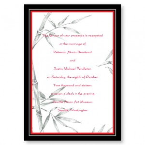 Bamboo Bliss Red Wedding Invitations