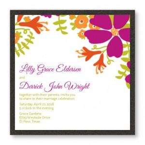 Bloom Square  2-Layer Floral Wedding Invitations