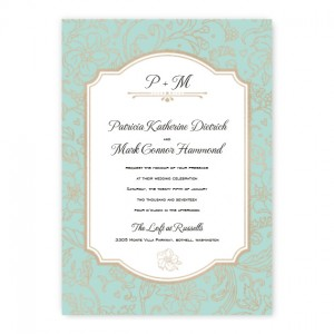 Brianne Unique Floral Foil Wedding Invitations