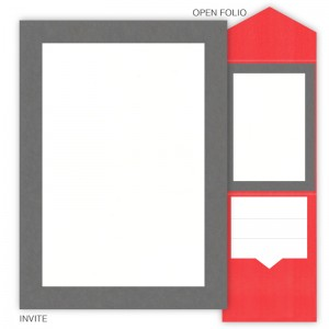 DIY 5 x 7 V-Flap Folio Pocket Wedding Invitations - 2 Layers Large Border