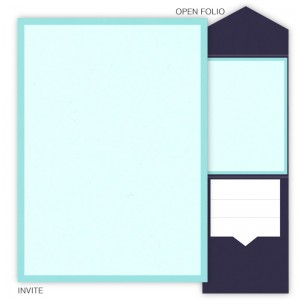 DIY 5 x 7 V-Flap Folio Pocket Wedding Invitations - 2 Layers Small Border