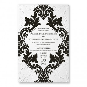Camille White Damask Wedding Invitations