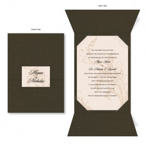 Champagne Chocolate Brown Folio Wedding Invitations