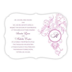 Circle Imprint II Mongram Wedding Invitations