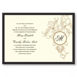 Circle Initial Imprint Wedding Invitations