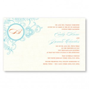 Circled With Love Thermography Monogram Wedding Invitations