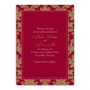 Clarissa Damask Save the Date Cards