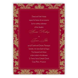 Clarissa Damask Thermography Wedding Invitations